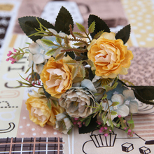 Real Touch Branch Stem Silk Rose Hand Feel Felt Simulation Decorative Artificial Rose Flowers Home Wedding artificial hand made flowers
