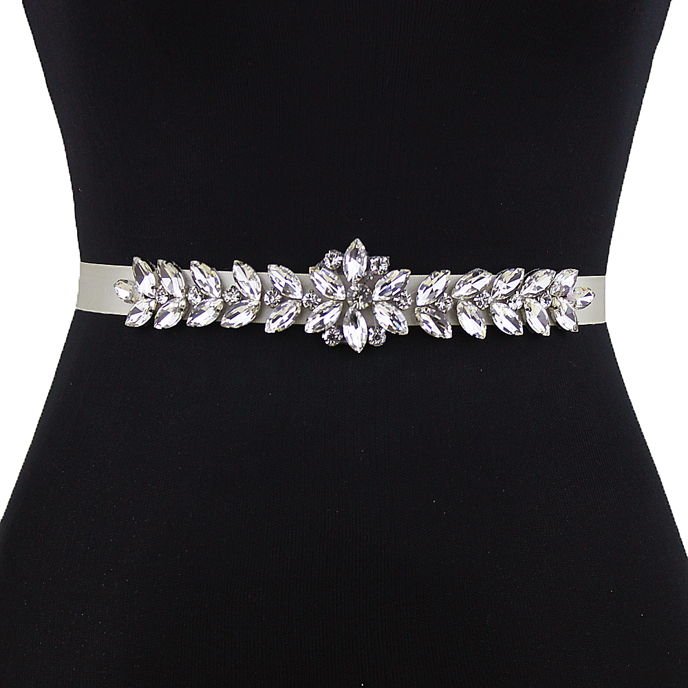 TRiXY S69 Women's Rhinestones Belt Sliver Diamond Bridal Belt Wedding Dress Belt Accessories Marriage Bridesmaid Bridal Sashes