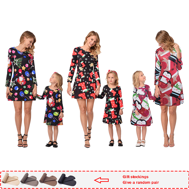 Family Matching Christmas-Clothes Daughter-Dress Dresses Mom And Autumn