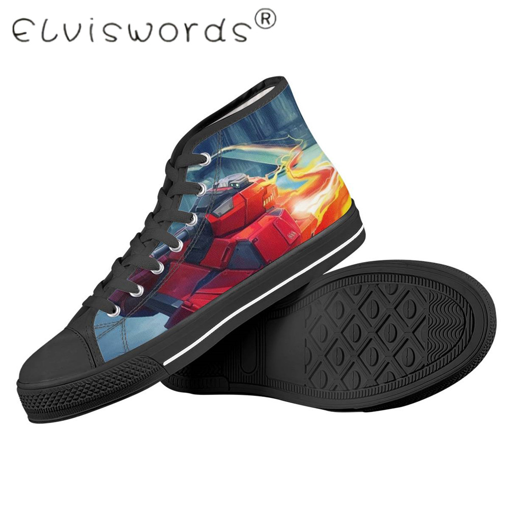 Promo ELVISWORDS New Male Vulcanize Shoes The World Of Tanks Printting Breath Lightweigt High Top Rubber Shoes Brand Casual Shoes