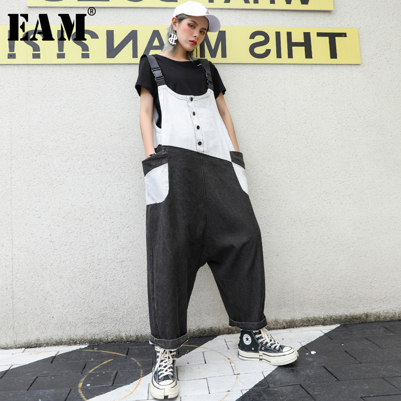 [EAM] High Waist Contrast Color Stitch Denim OverallsTrousers New Loose Fit Pants Women Fashion Tide Spring Autumn 2020 1S307