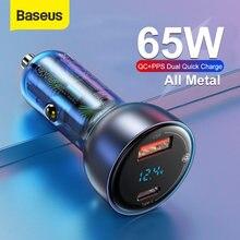 Chargeur de voiture Baseus 65W PPS USB Type C double Port PD QC charge rapide pour ordinateur portable chargeur de téléphone de voiture translucide pour iPhone Samsung