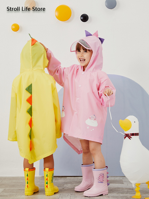 Cute Girl's Waterproof Raincoat Kids Rain Poncho Pink Dinosaur Long Clear Rain Coat Jacket Capa De Chuva Rain Suit Gear Gift 1