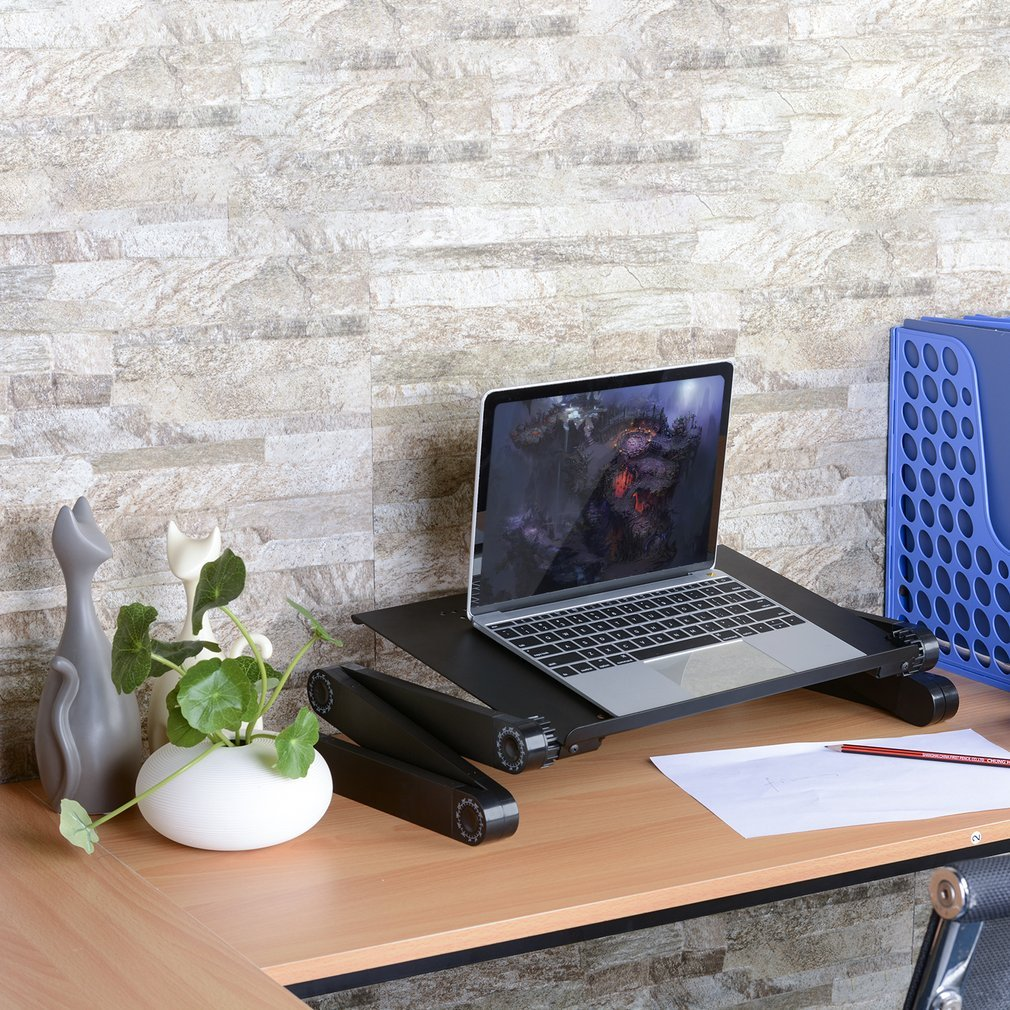 Multi-functional Aluminium Alloy Compact Foldable Easy To Carry Store Adjustable Laptop Stand Desk Table