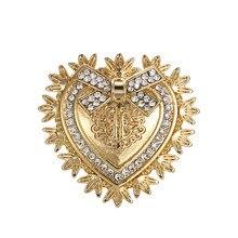 WEIMANJINGDIAN-broche de lazo de paz en forma de corazón, chapado en Color dorado, alfileres, abrigo, accesorios de invierno, joyería