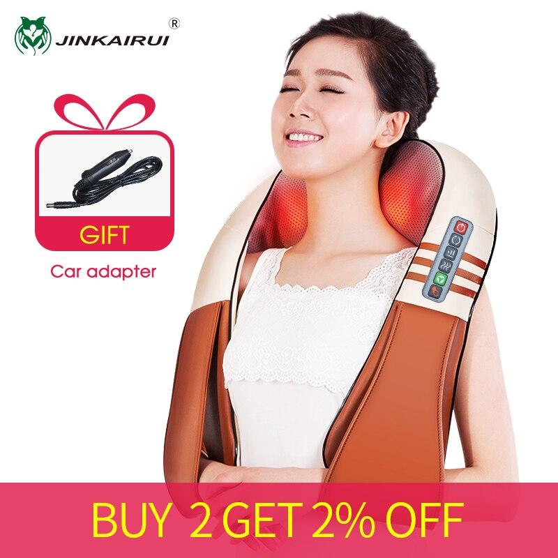 (Met Gift Box) jinkairui U-vorm Elektrische Shiatsu Nek Schouder Body Massager Infrarood Verwarmde Kneden Auto/Home Massagem