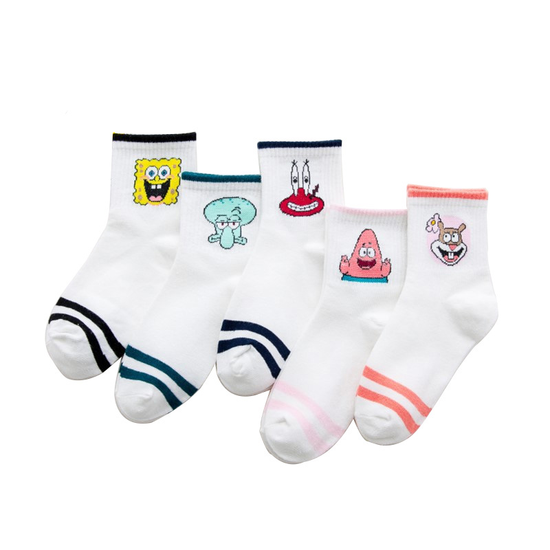Morematch Autumn Women Socks Cartoon Animal Cute SpongeBob Sock For Girls Winter Warm Cotton Sock For Ladies Christmas Gifts