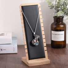 Solid Bamboo Wood Jewelry Display Stand Necklace Showcase Holder Pendant, Long Chain Handing Organizer (Necklace Board)