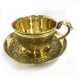 ランダムパターン高品質コーヒーカップセット手メイドアラビアインド固体銅茶カップ銅パッド手芸箸置き BS