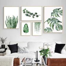 Зеленые листья плакат растений скандинавский Стиль декоративная картина современного искусства стены Картины для Гостиная домашний декор