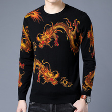 Dragon Print Sweater Animal Printed Sweater Mens Fashion Pullover Slim Fit M-3XL