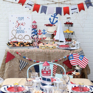 Nautical Party Decorations Balloons Paper Plates Straws Anchor Lift Ring Baby Shower Banner Kids Theme Birthday Party Supplies