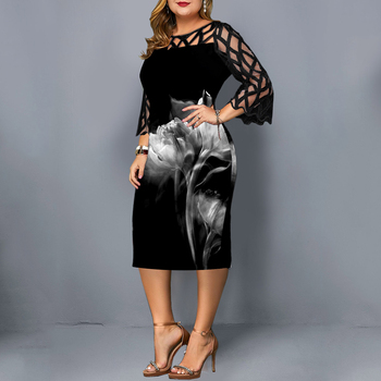 L-6XL Women Plus Size Dress Elegant Ladies Black Sheer Lace Sleeve Dress 2020 Chic Casual Printed Lace Evening Party Dresses D25 2