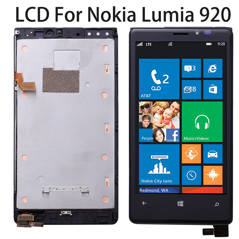 LCD Display For NOKIA Lumia 920 Touch Screen with Frame Black For NOKIA Lumia 920 Display Digitizer Replacement No Dead Pixels
