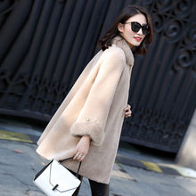 Real Fur Coat Women Winter Jacket Sheep Shearing Wool Fur Coats Women Mink Fur Collar Long Korean Clothes 2020 ZM-18553 KJ3137(China)