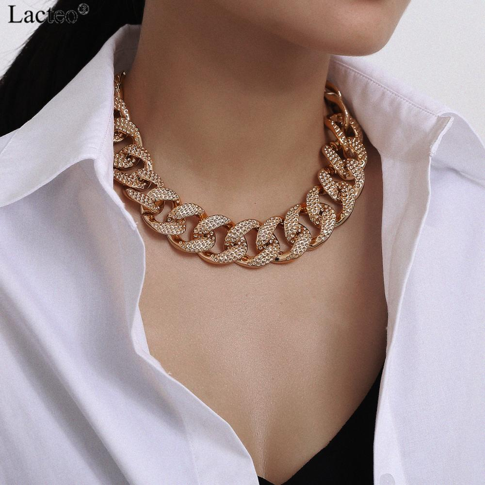 Lacteo Exaggerated Big Golden Thick Chunky CCB Chain for Female Hip Hop Choker Statement Fashion Short Clavicle Chain Necklace|Колье|   | АлиЭкспресс