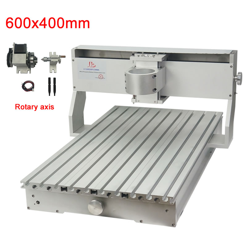 CNC 6040 Frame 4axis Chuck 65mm With Tailstock Nema23 Stepper Motors 600x400mm Ball Screw For Metal Engraving And Wood Router