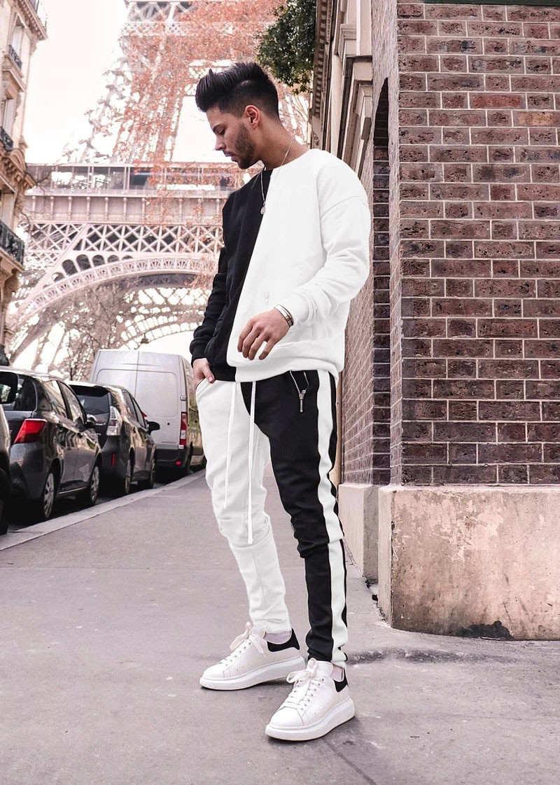 Men Stitching Suit Running Set Long Sleeve Pockets Hoodies Sweatpants Tracksuit Outdoor Sport Suit Gyms Hiking Sportswear Suit