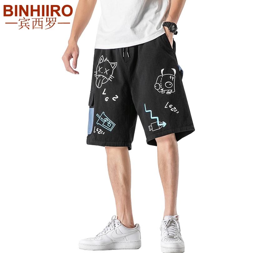 Men's Cartoon Printed Fashion Shorts Hip Hop Loose Comfortable Breathable Cargo Pants 2020 Summer Straight Casual Shorts Male