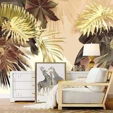 Personalizado mural auto adesivo papel de parede moderno 3d tropical planta folhas douradas afrescos sala estar sofá tv arte criativa à prova dwaterproof água
