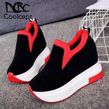 Coolcept Women Thick Bottom Sneakers Platform Slip On Mixed Color Casual