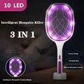 3 в 1 10/6/4 светодиодный солнечный ловушка для комаров убийца лампа 3000V Электрическая мухобойка USB Перезаряжаемые летние мухобойка ловушка для...