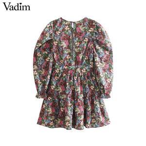 Image 2 - Vadim femmes doux motif floral mini robe côté fermeture éclair à manches longues coupe mince mignon femme casaul robes élégantes vestidos QC862