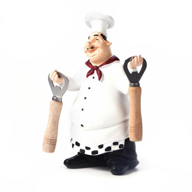 Retro Chef Model Ornaments Resin Crafts Mini Chef Figurines White Top Hat Cook Home Kitchen Restaurant Bar Coffee Decor-C