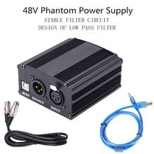 48v fantasma adaptador de alimentação xlr cabo para condensador microfone estúdio gravação phantom power para bm 800 condensador mic
