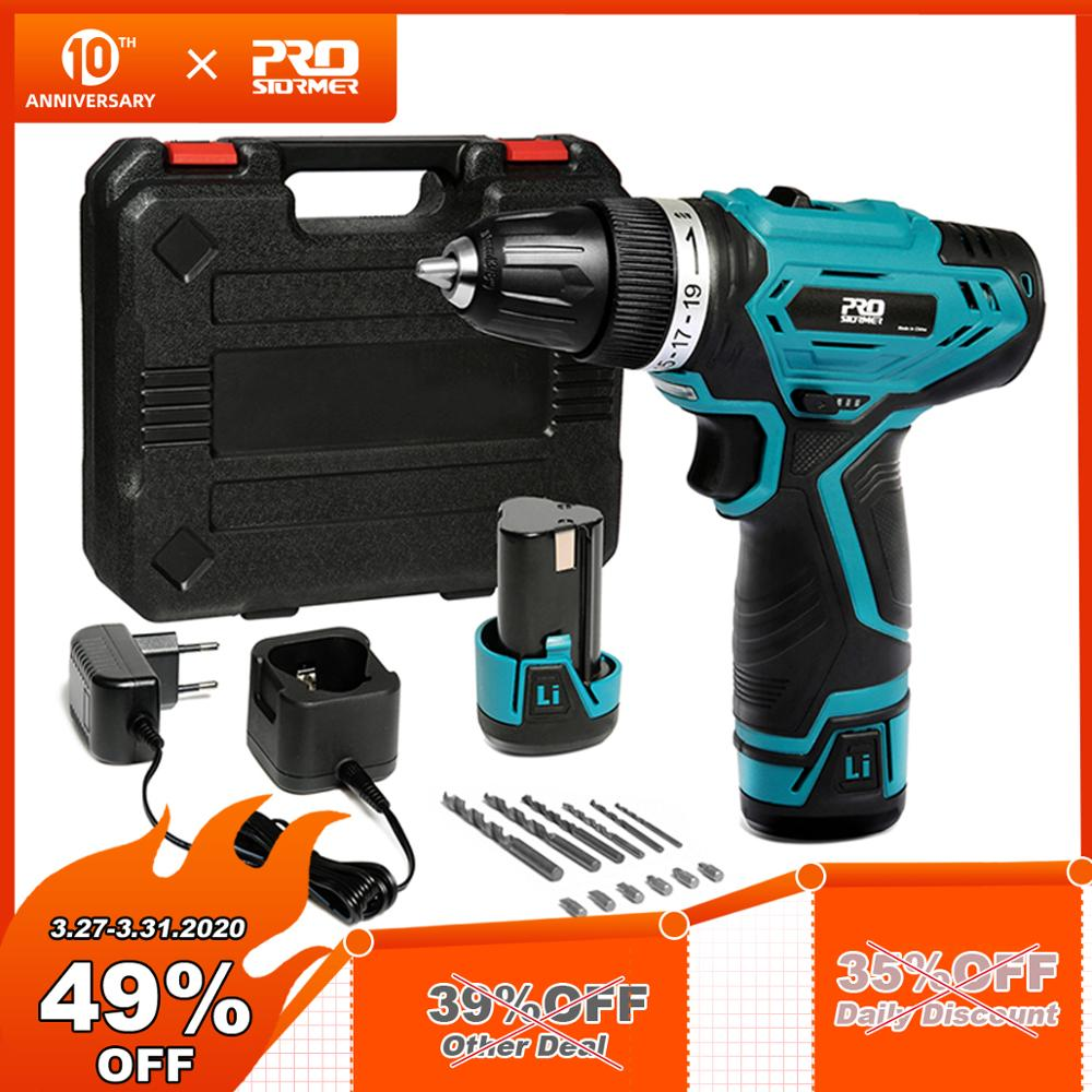 PROSTORMER 12V Cordless Drill 3/8-inch Electric Driver 19+1 Torque Gear Rechargeable Household With Drill Sets Mini Power Tools