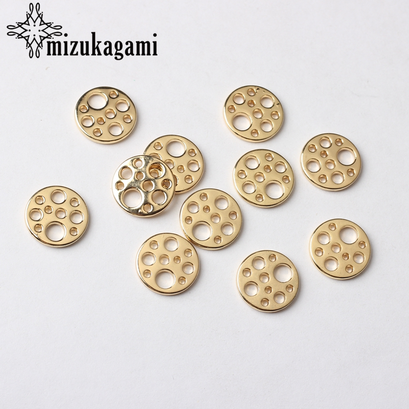 Zinc Alloy Charms Golden Flat Round Shape Connector Charms 13mm 10pcs/lot For DIY Tassel Earrings Jewelry Making Accessories