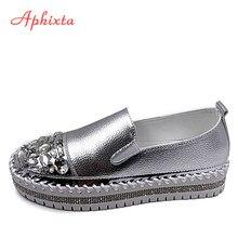 Aphixta-zapatos planos de cuero con cristales y punta redonda para mujer, mocasines de plata brillante, de plataforma, planos, para estudiantes, talla 43