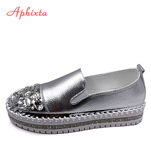 Aphixta Crystals Round Toe Leather Flats Shoes Women Silver Bling Loafers Couple Platform Shoes Woman Flat With Students Size 43