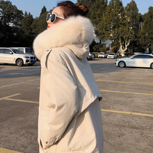 Korean Fashion Woman Downs Jacket Fur Collar Winter Down Women Puffer OL Pink Womens Jackets