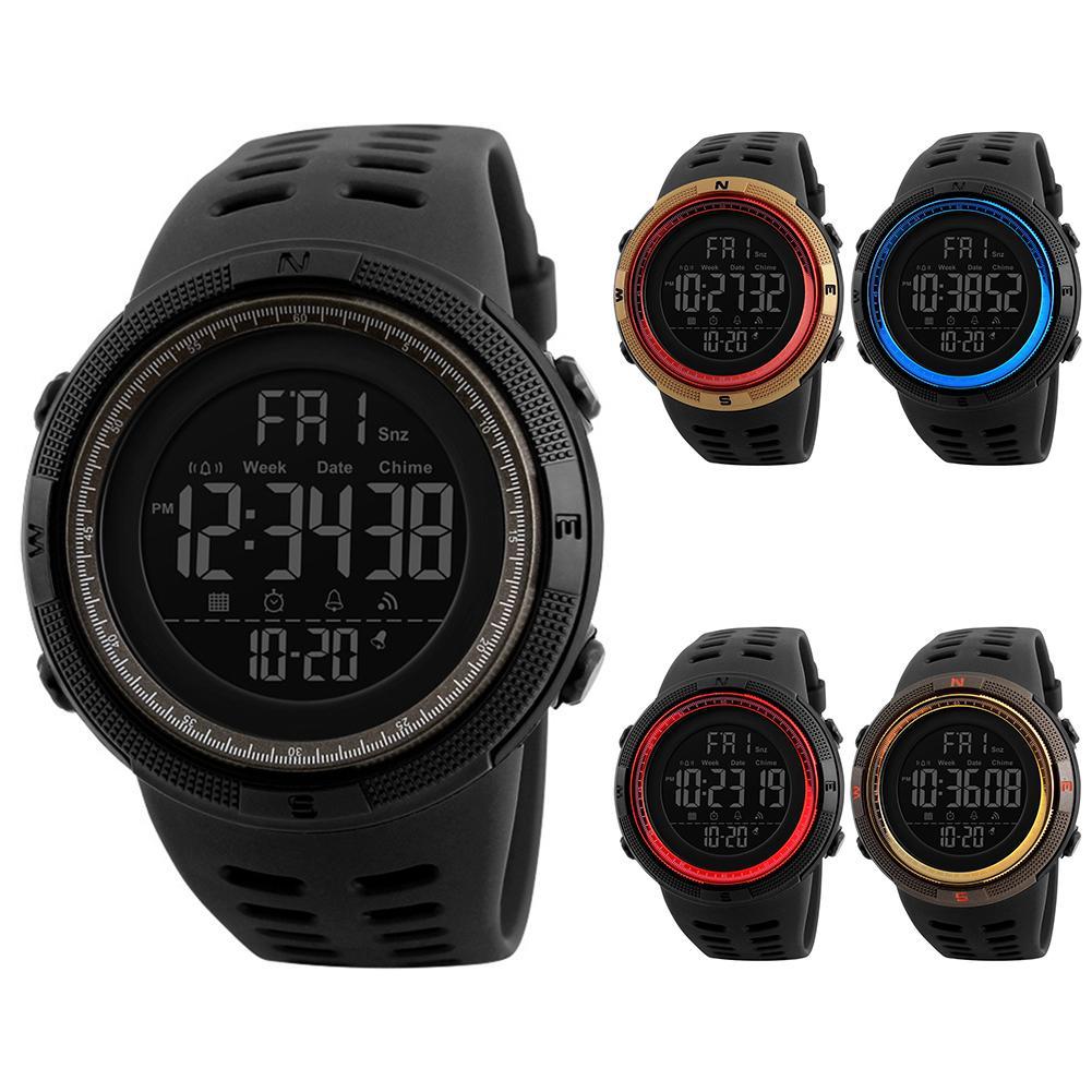 Men Fashion Outdoor Alarm Clock Digital Display Waterproof Calendar Sports Wrist Watch Silicone Band Relogio Inteligente  Mas-cu