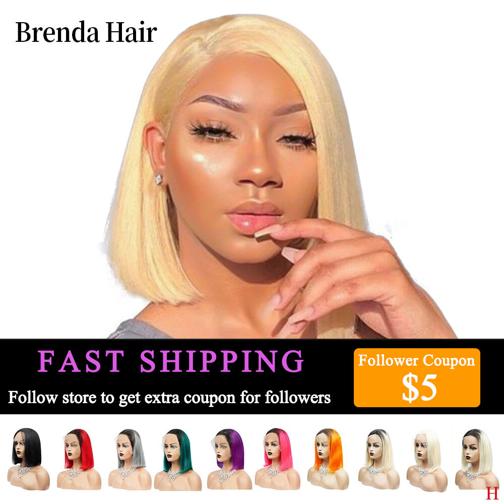 Brenda Hair 13x6 Lace Front Human Hair Wigs For Black Women 613 Short Bob 150% Density Lace Wigs Brazilian Hair Pre Plucked