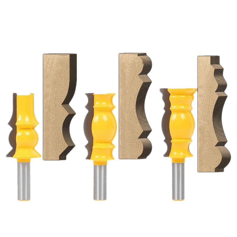 3 Pcs 1/2 Inch Shank Crown Molding Router Bit Raised Panel Wood Milling Cutter Set Rail & Stile Woodworking Miter