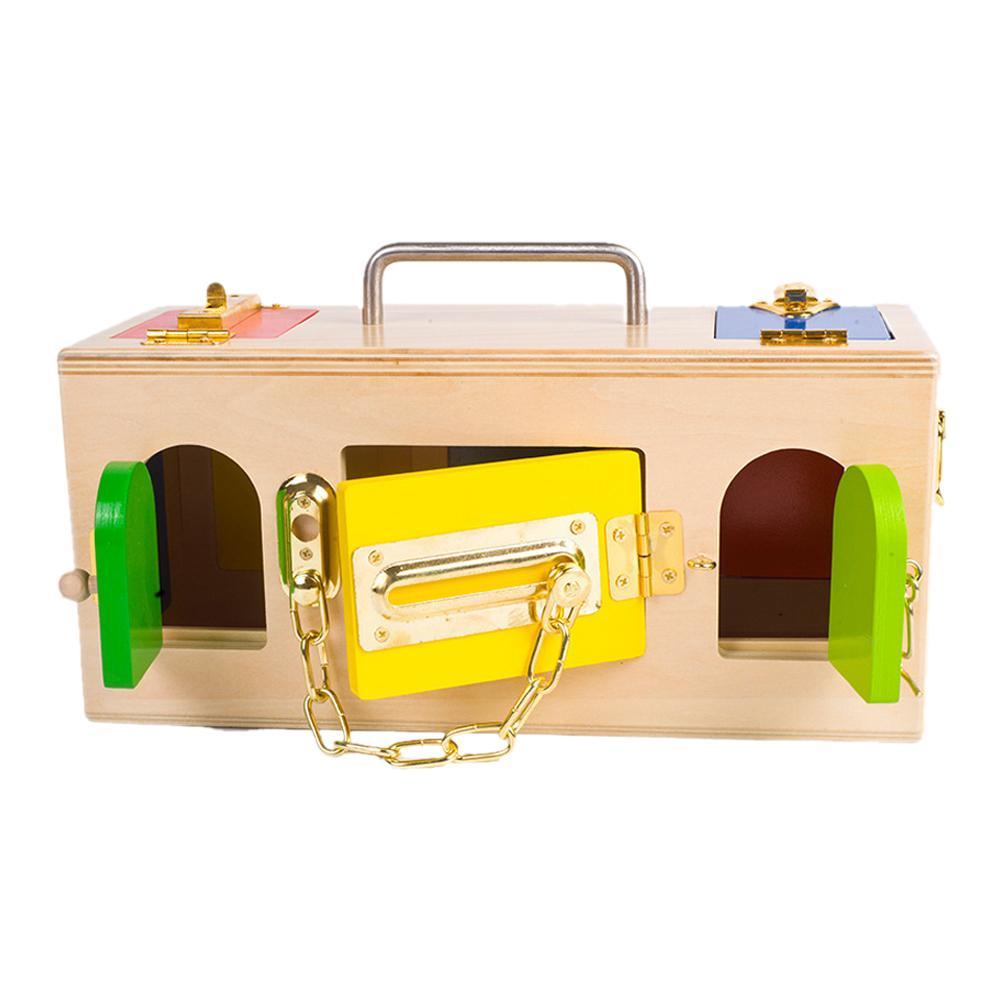 Montessori Beechwood Lock Board w// Doors /& Latches Boys Girls Memoy Game Toy