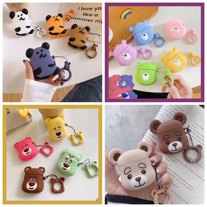For AirPods Case 3D Cute Cartoon Bear Earphone Case For Airpods 2/i10/i11/i12 TWS Ins Style Protect Cover With Finger Ring Strap