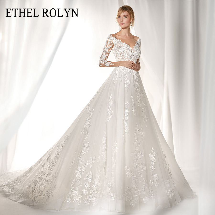 ETHEL ROLYN Long Sleeves Wedding Dresses 2020 Vestido De Noiva Sexy V-neckline Lace A Line Bride Appliques Button Bridal Gowns