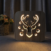 Wooden LED Night Light Animal Shaped 3D USB Charging Desk Lamp Decoration for Bedroom ALI88