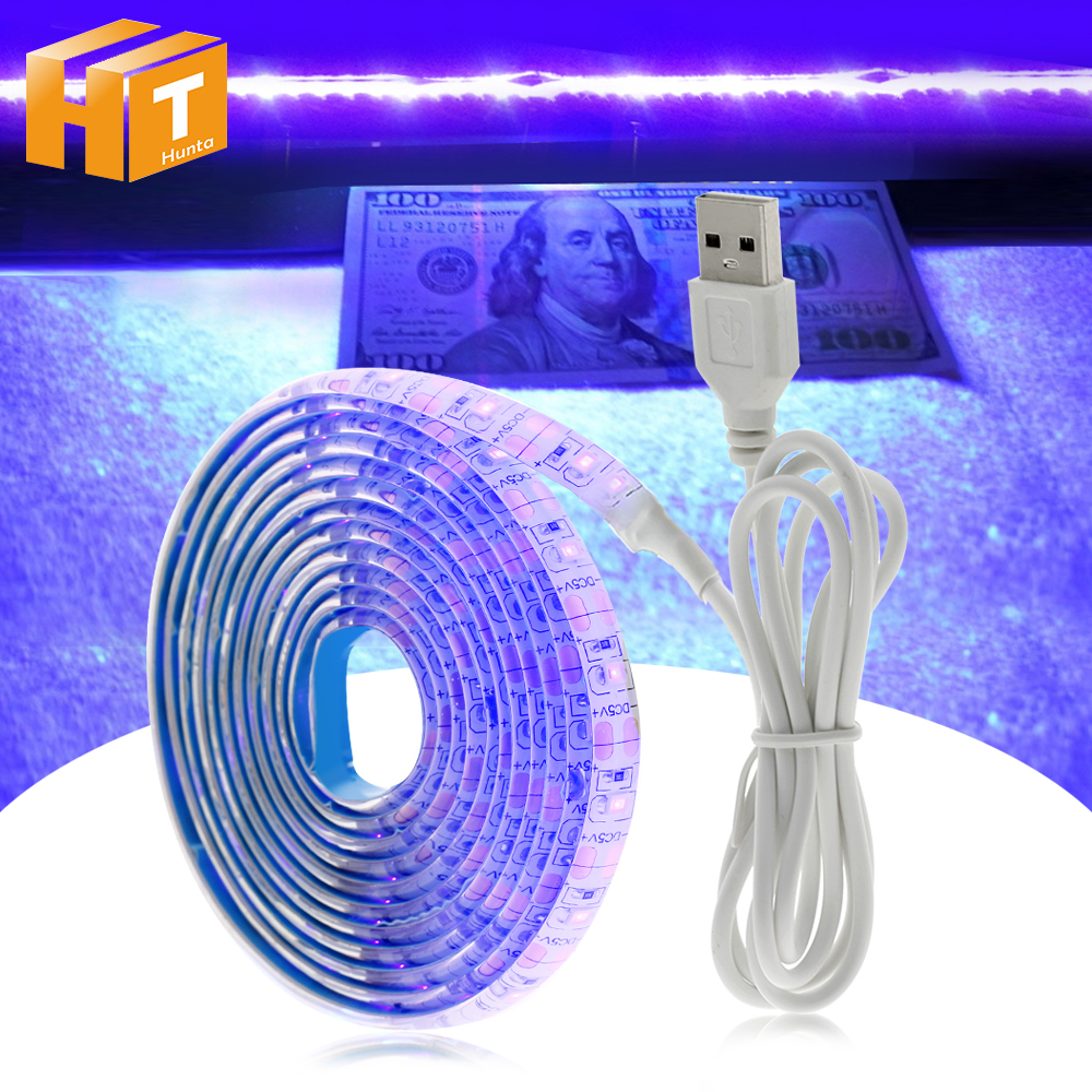 Dc5v usb uv led strip light 2835 ultravioleta desinfecção string lâmpada diy flexível led luz para festa de fluorescência dj