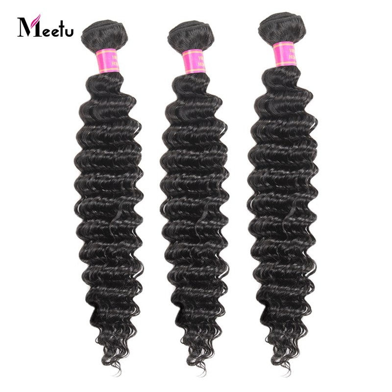 Meetu 3 Bundles Brazilian Deep Wave Bundles Natural Human Hair Weave Extensions 300g For Full Head Natural Color Non Remy Hair