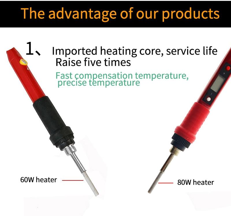 60W/80W Electric soldering iron temperature adjustable 220V 110V LCD Digital Display Welding Solder iron rework station Tools