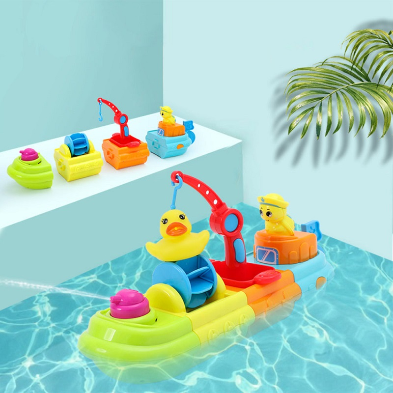 Bathing Assembleable Spray Boat Toys Water Floating Toys For Kid Ship Pool Beach Toy Bathroom Baby Play Water Clockwork Toy