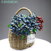 INDIGO - Blue Berry Spray Christmas INS Decoration Flower Arrangment Artificial Plant Floral Event Party Free Shipping