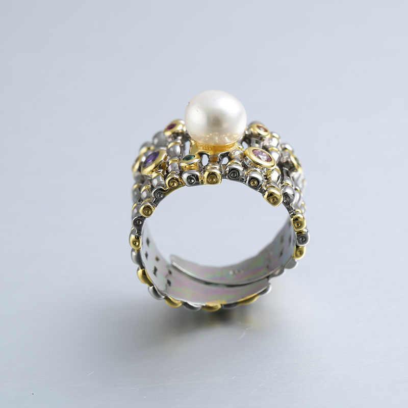 Кольцо из серебра 925 пробы с цирконием и жемчугом, золото, регулируемый натуральный пресноводный барочный жемчуг, волнистые кольца для женщин, 925 ювелирное изделие, подарок