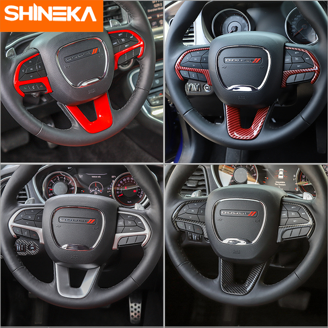 SHINEKA Interior Accessories For Dodge Challenger 2015+ Car Steering Wheel Decoration Cover Stickers For Dodge Charger 2015+ 4