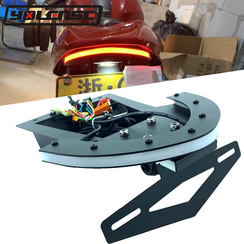 For DUCATI Monster 696 795 796 M1100EVO Motorcycle Rear Tail Light Brake Turn Signals Integrated LED License Plate Bracket