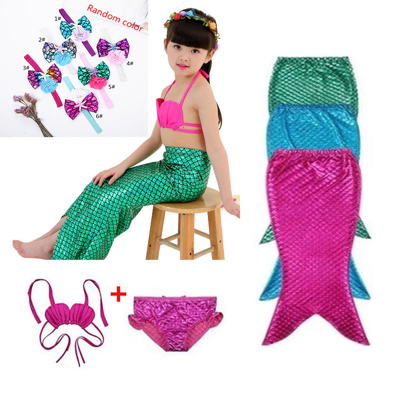 3pcs Bikini Mermaid Tail Kid Costume Cosplay Princess Ariel Baby Girl Maid Swim Suit Swimsuit New Tail Dress Up Dress Halloween